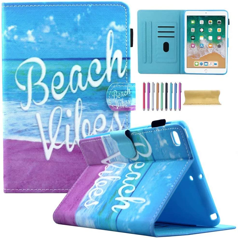New iPad 9.7 2018 2017 Case, iPad Air 1 2 Wallet Case, AMotie PU Leather Stand Smart Case Cover with Auto Sleep/Wake for iPad 2018 (6th Gen) - iPad 2017 (5th Gen) - iPad Air 2 & 1, Beach