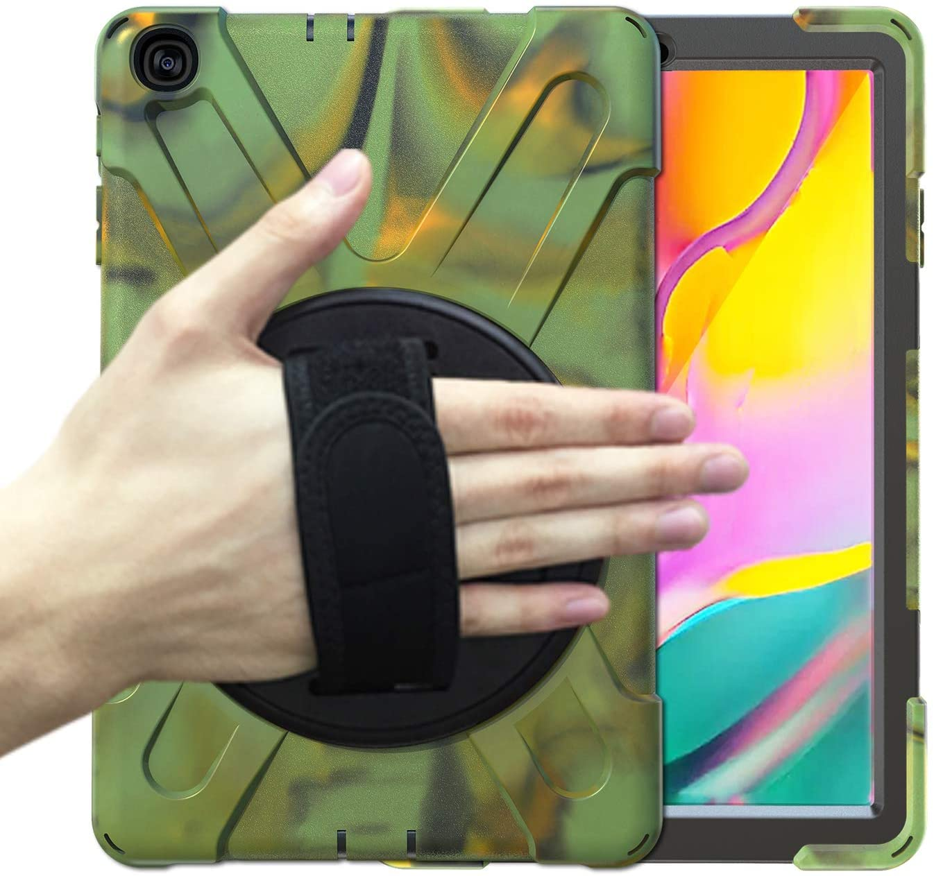 Galaxy Tab A 10.1 2019 T510/T515 Case, KIQ Shockproof Rugged Hybrid Armor Heavy Duty Military Full-Body Protection Case Cover for Samsung Galaxy Tab A 10.1 SM-T510 SM-T515 (Shield Camouflage)