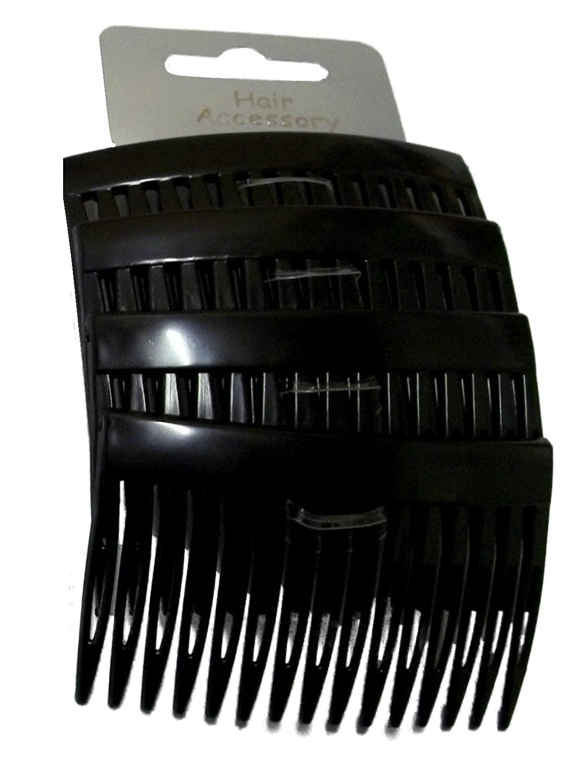 Set of 4 Black Plain Hair Combs Slides 7cm (2.8) by Pritties Accessories