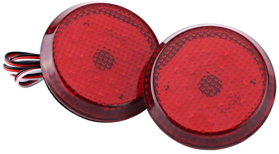6.8cm Car LED Tail Rear Bumper Reflector Light,LED Rear Bumper Reflector Lamps Fog Brake Stop Lamp (Red)