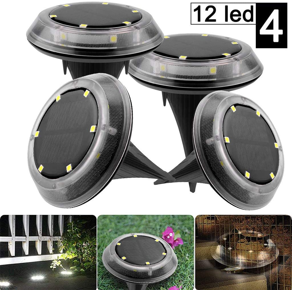 Sannysis Newest Solar Ground LED Lights, Outdoor Waterproof Solar Disk Lights Solar Garden Lights for Pathway Outdoor in-Ground Lawn Yard Deck Patio Walkway Cold White(4 Pack) (12LED)