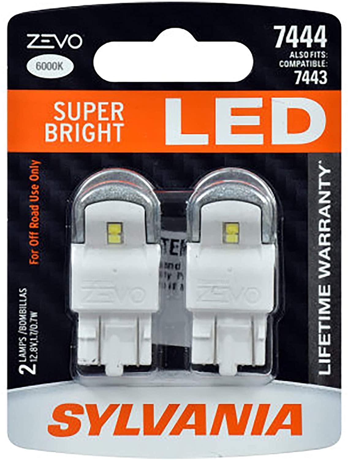 SYLVANIA - 7444 T20 ZEVO LED White Bulb - Bright LED Bulb, Ideal for Daytime Running Lights (DRL) and Back-Up/Reverse Lights (Contains 2 Bulbs)