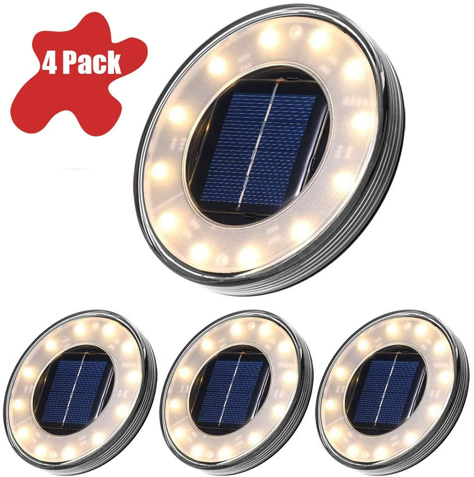 CWWHY Solar Ground Lights IP68 Waterproof Solar Disk Lights Warm White Disk Lights for Outdoor Garden Warm White 12 LEDs for Patio Garden Pathway Lawn Yard 4 Pack