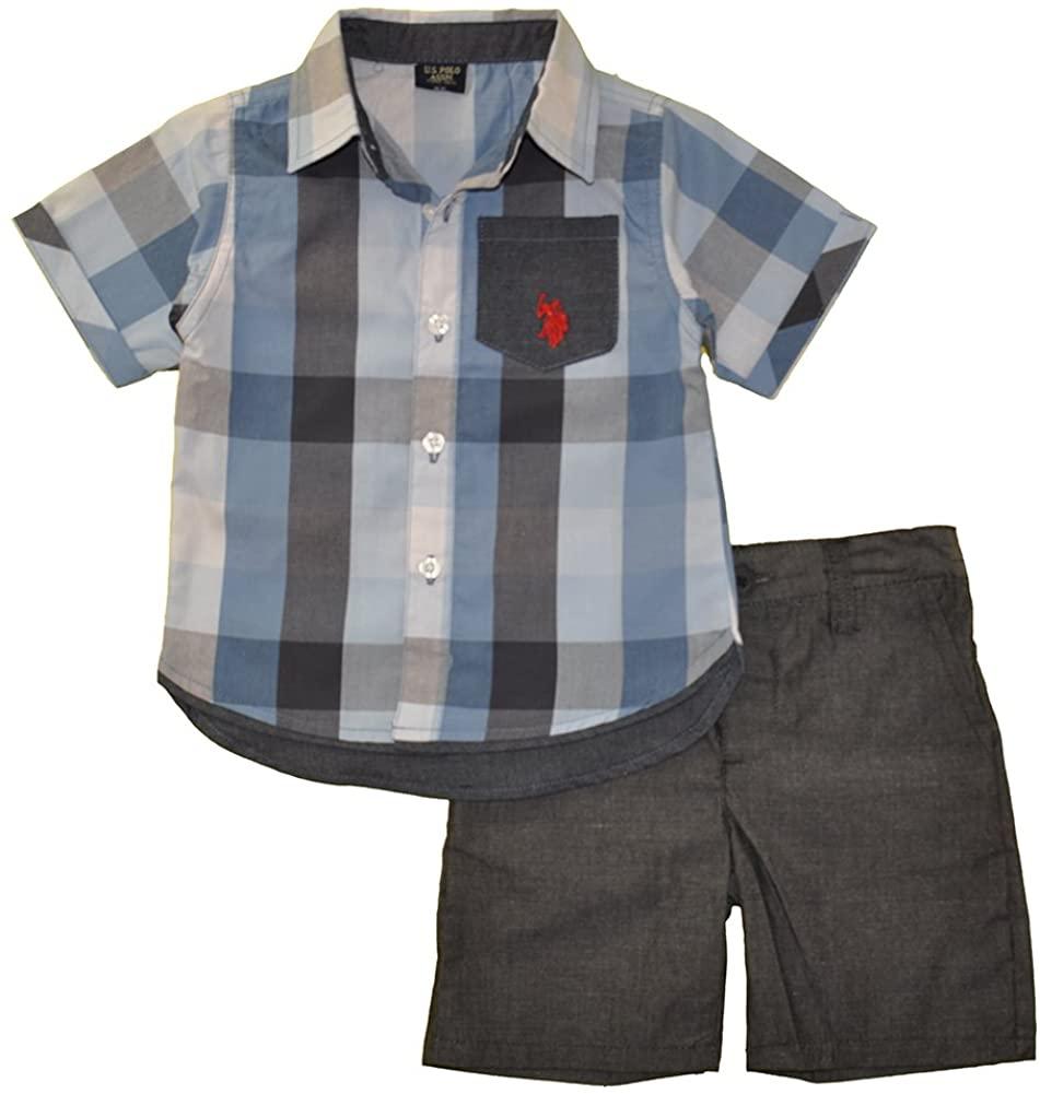 U.S. Polo Assn. Boys' S/S Sleeve Woven Shirt & Chambray Short Set