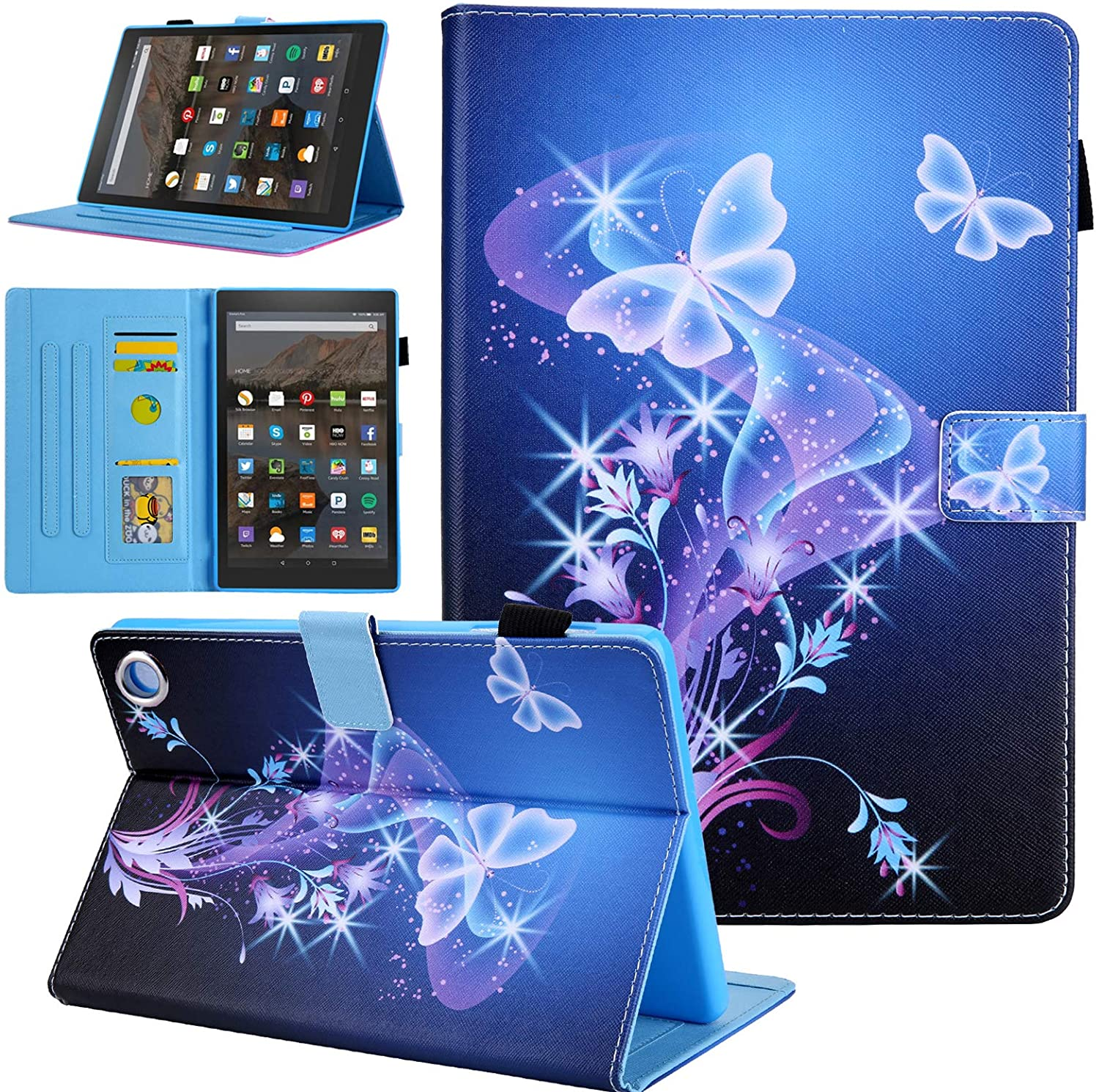 All-New Kindle Fire HD 8 Tablet Case, Case for Fire HD 8 10th Generation 2020 Release, Alugs Full Body Protective PU Leather Smart Stand Folio Cover for Fire HD 8 / HD 8 Plus 2020, Butterfly