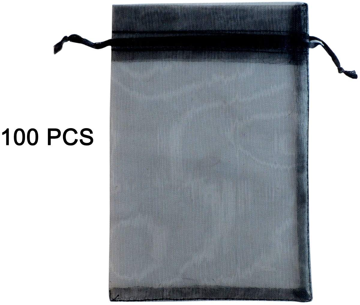 4 x 6Inches 100 Pack Black Organza Gift Bags Wedding Party Favor Bags Jewelry Pouches Wrap (100pcs Black 4 x 6 Inches)