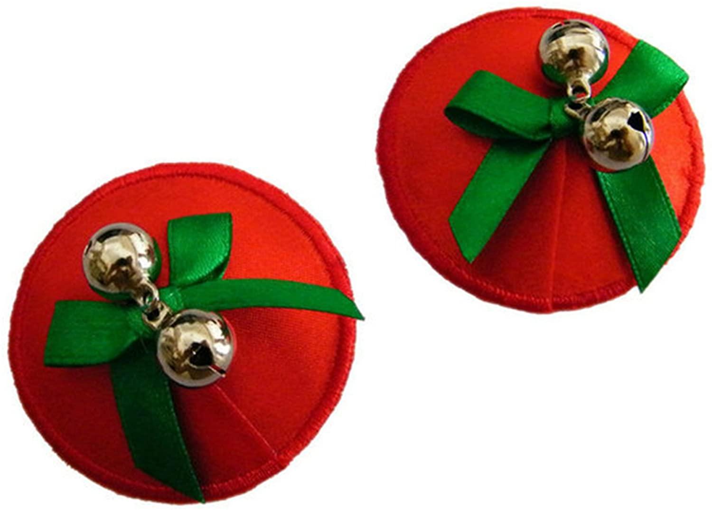 TX-Originality Women's Pasties Xmas Red Reusable Nipple Sticker