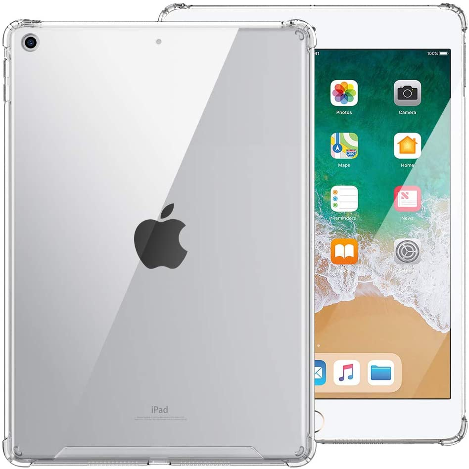 MoKo Case Fit 2018/2017 iPad 9.7 6th/5th Generation [Shockproof Protector] Reinforced Corners TPU Bumper + Anti-Scratch Transparent Hard Panel Cover Fit iPad 9.7 Inch 2018/2017 - Clear