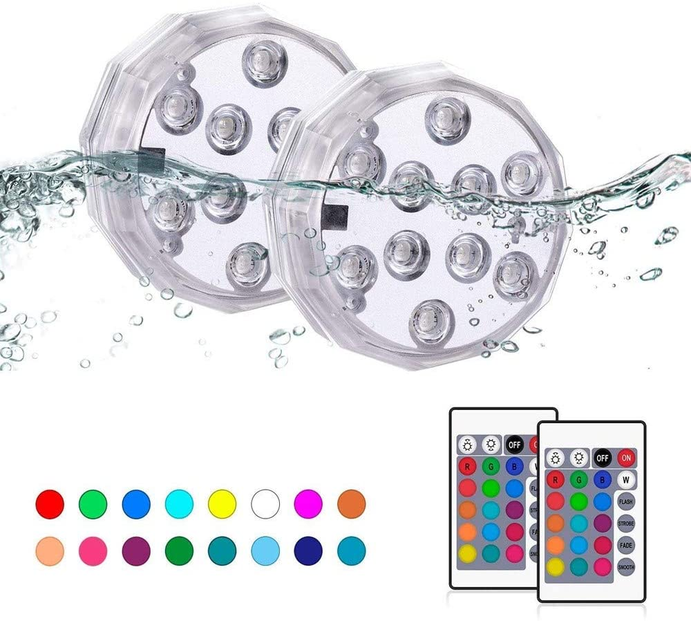 XIGUI Diving Waterproof LED Lights 16 Color-Changing Wireless Waterproof Underwater LED Lights with Remote Control, with Suction Cups, Used for Decoration of Swimming Pool Fountains and Aquariums