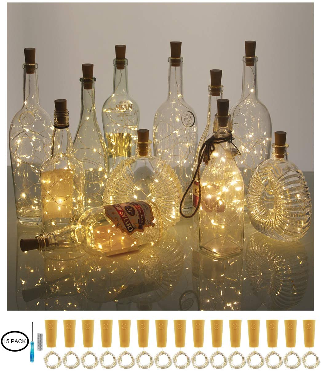 XIHADA Wine Bottle Lights with Cork, 20 LED Battery Operated Fairy String Lights Mini Copper Wire Bottle Lights for DIY, Party,Decor,Christmas,Thanksgiving Day,Wedding (15 Packs, Warmwhite)