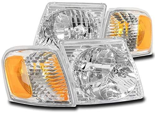 ZMAUTOPARTS Replacement Headlights Headlamps Chrome For 2001-2003 Ford Explorer Sport / 2001-2005 Explorer Sport Trac