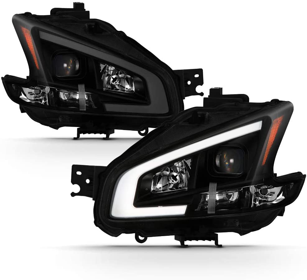 ACANII - For 2009-2014 Nissan Maxima Black Smoked LED Tube Style Projector Headlights Headlamps Driver+Passenger Side