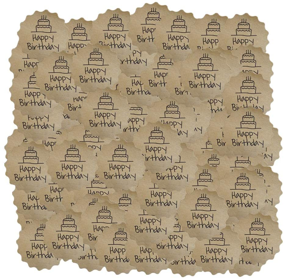 freneci 120pc Round Paper Labels 'Happy Birthday' Gift Tag