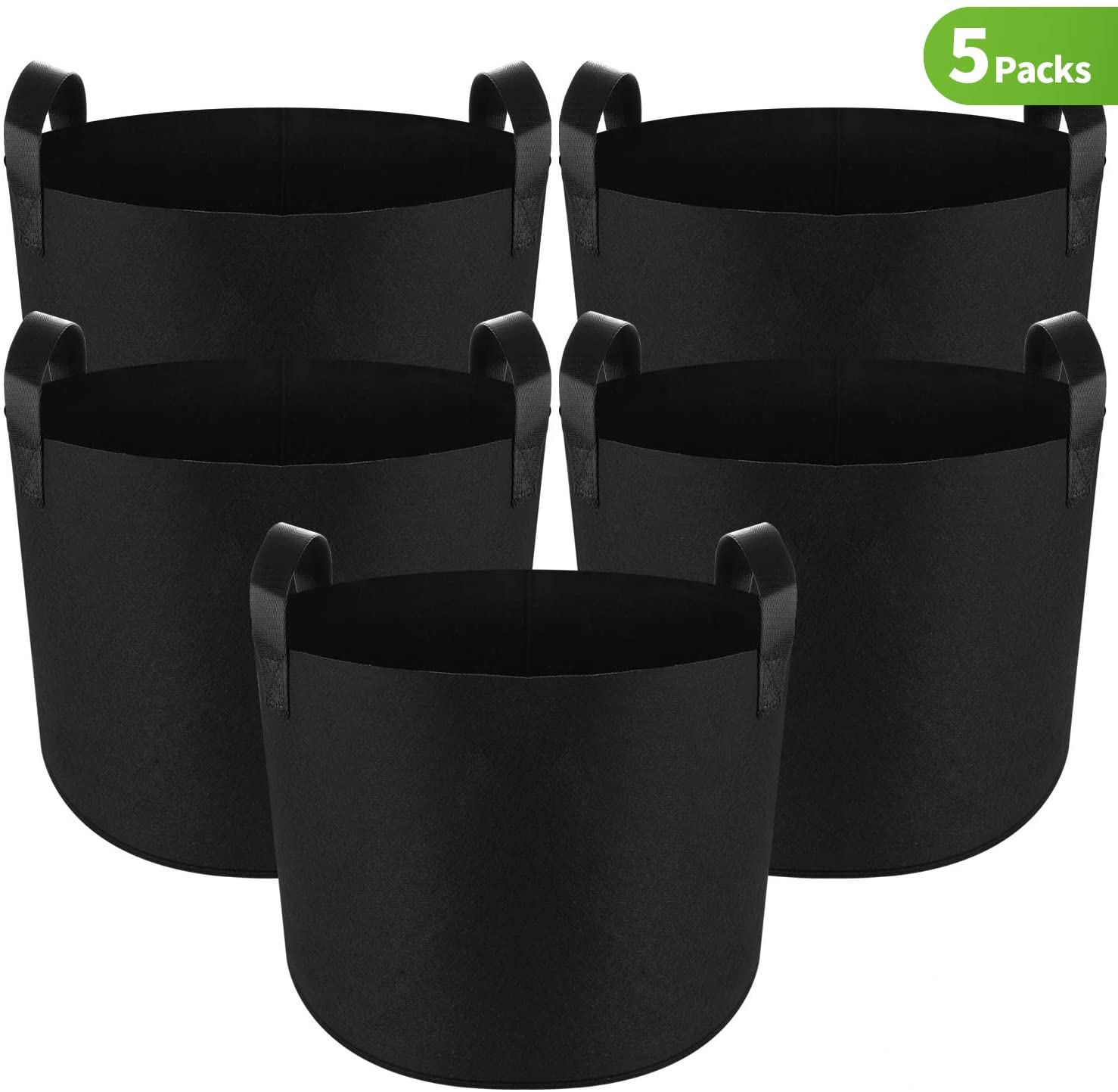 5-Pack Plant Grow Bag 20 Gallon Fabric Pots with Reinforced Handles and Bottom Smart Potato Container Gardening Vegetable Planter