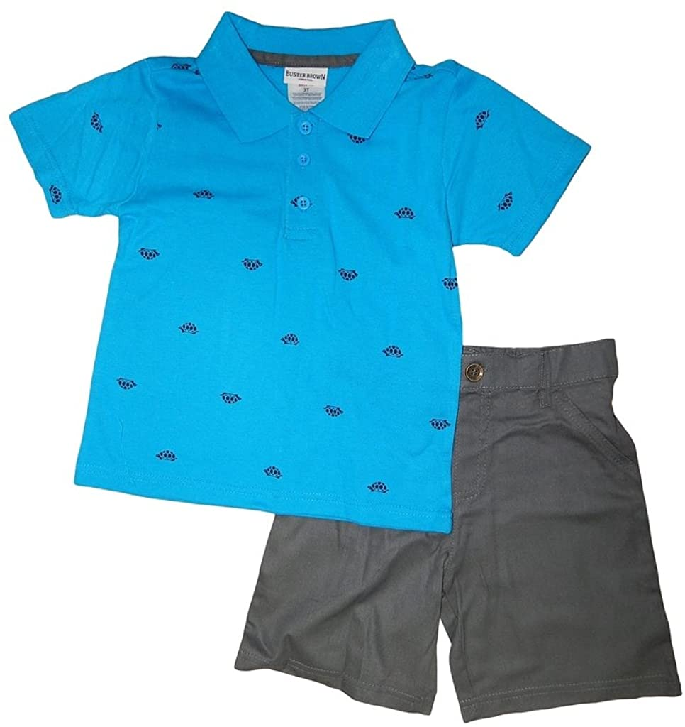 Buster Brown Boys' Turtle Print Polo and Shorts Set
