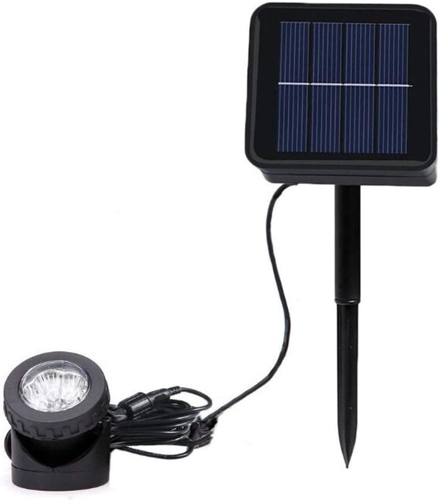 eSea Waterproof Solar Pond Lights – 6LED Single Head Landscape Spotlight Submersible Lamps Underwater Light Adjustable Lighting Angle, Security Lighting Dark Sensing Auto On/Off for Outdoor, 1 Pack