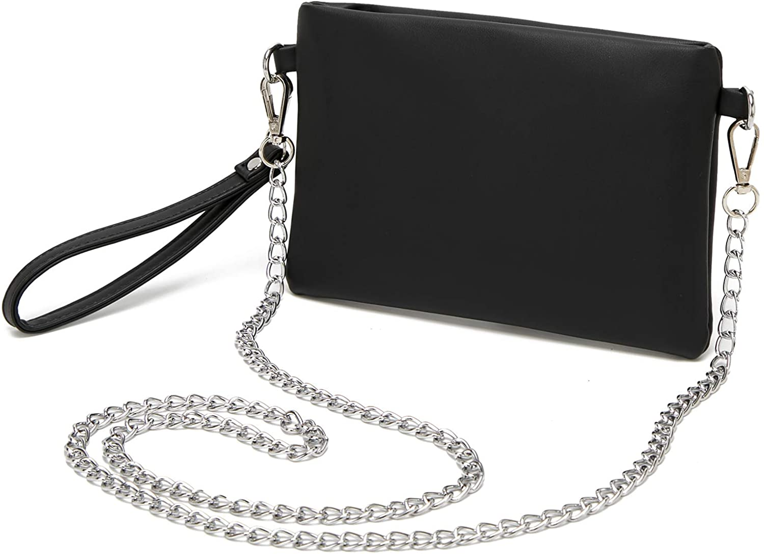 Forestfish PU Leather Wristlet Clutch Purse Crossbody Shoulder Bag Evening Bags with Chain Wristlet Strap for Women Girls