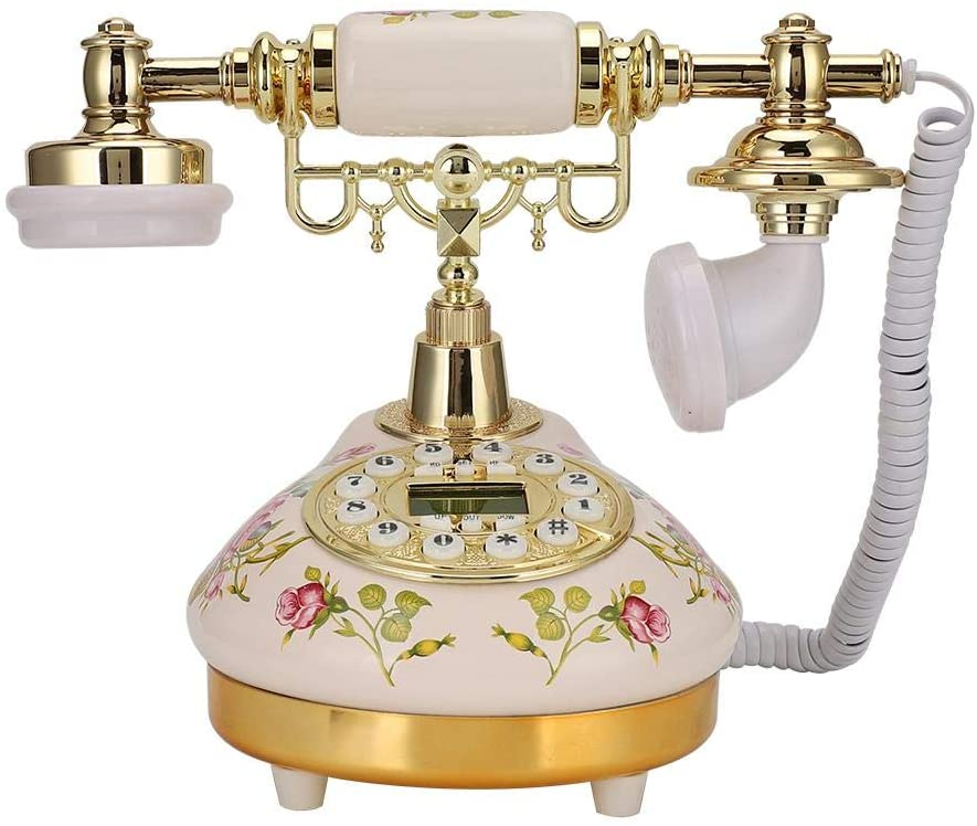 Yoidesu Retro Vintage Antique Telephone,European Old Fashioned Classic Fixed Digital Vintage Telephone with Automatic Detection to FSK/DTMF Caller ID for Home Decor