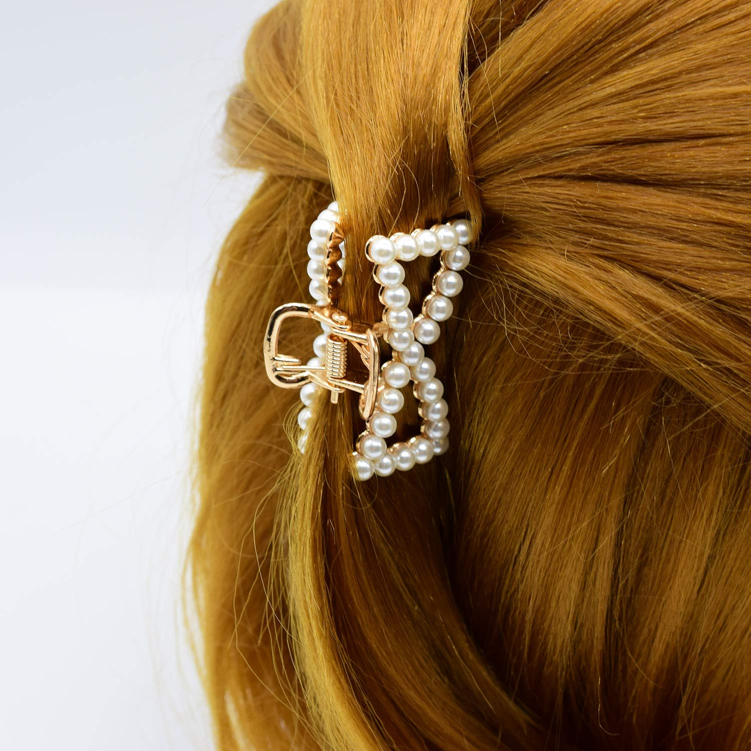 Pearl Barrette Hair Claw Clips Alloy Metal Korean Accessories for Women Girls Jewelry (Rose Gold)