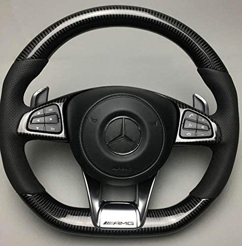 OEM Mercedes-Benz Steering Wheel – Carbon Fiber – Black Perforated Genuine Leather – C-Class W205 - Customized C63 AMG Steering Wheel