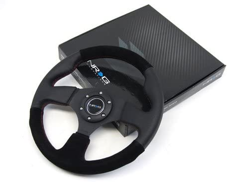 NRG 320mm Sport Leather / Suede Steering Wheel With Red Stitch - ST-012R/S