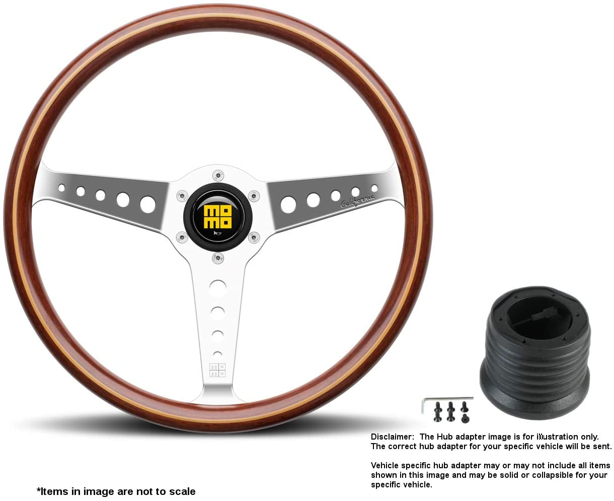 MOMO California Wood 360mm (14.17 Inches) Wood Steering Wheel w/Polished Spokes and Hub Adapter for Volvo 780 Part # CAL36WD0P + 9011