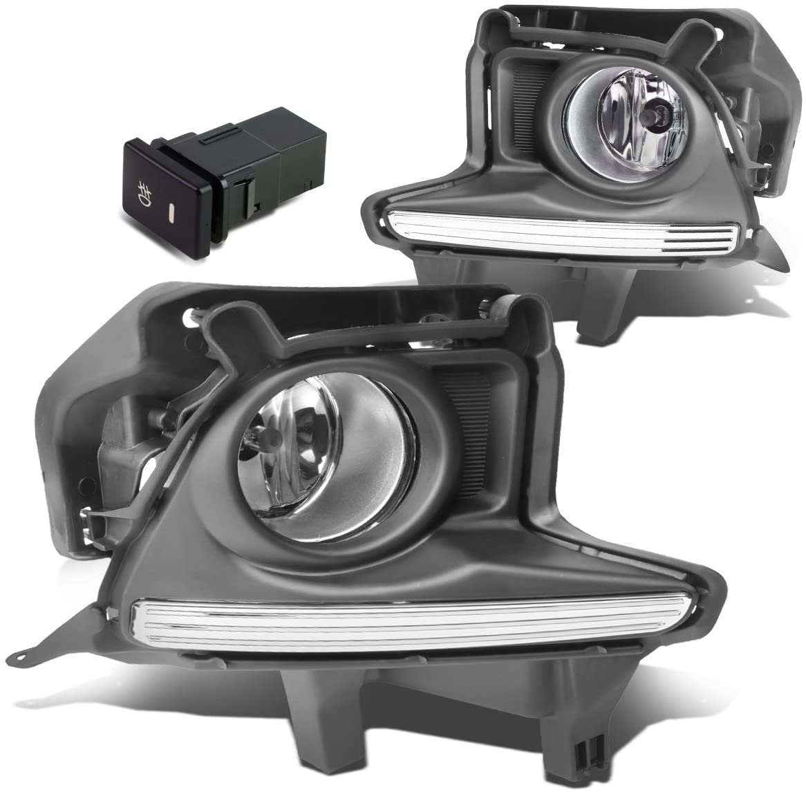 DNA MOTORING FL-ZTL-245-CH Bumper Fog Light+Switch [for 14-16 Highlander], Chrome Housing/Clear Lens