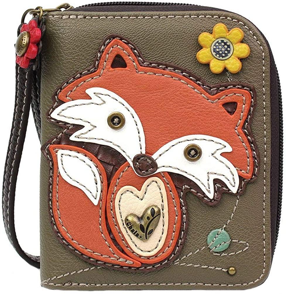 Chala Handbags Fox Zip-Around Wallet/Wristlet, Gift for Fox Lovers Chala Handbags