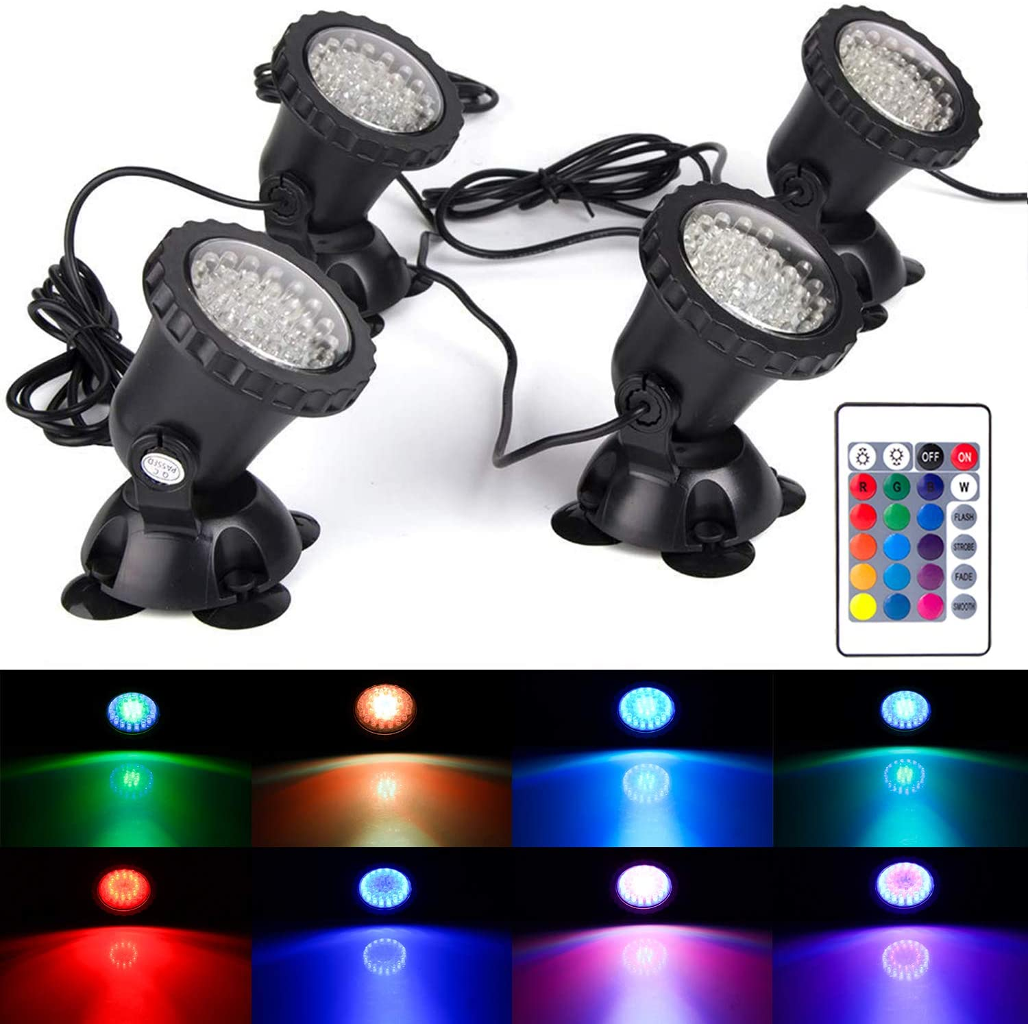 GZKANFUL Pond Light, 36 LED IP68 Waterproof Underwater Submersible Spotlight with Remote, 4 Pack Multi-Color & Adjustable & Dimmable Aquarium Light, Landscape Lamp for Fish Tank Fountain