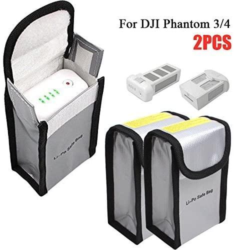 Fireproof Lipo Battery Safe Bag Explosionproof Lithium Batteries Guard Storage Bag for DJI Mavic Pro Phantom 3 Phantom 4, Silver (150x90x55mm, 2pcs)
