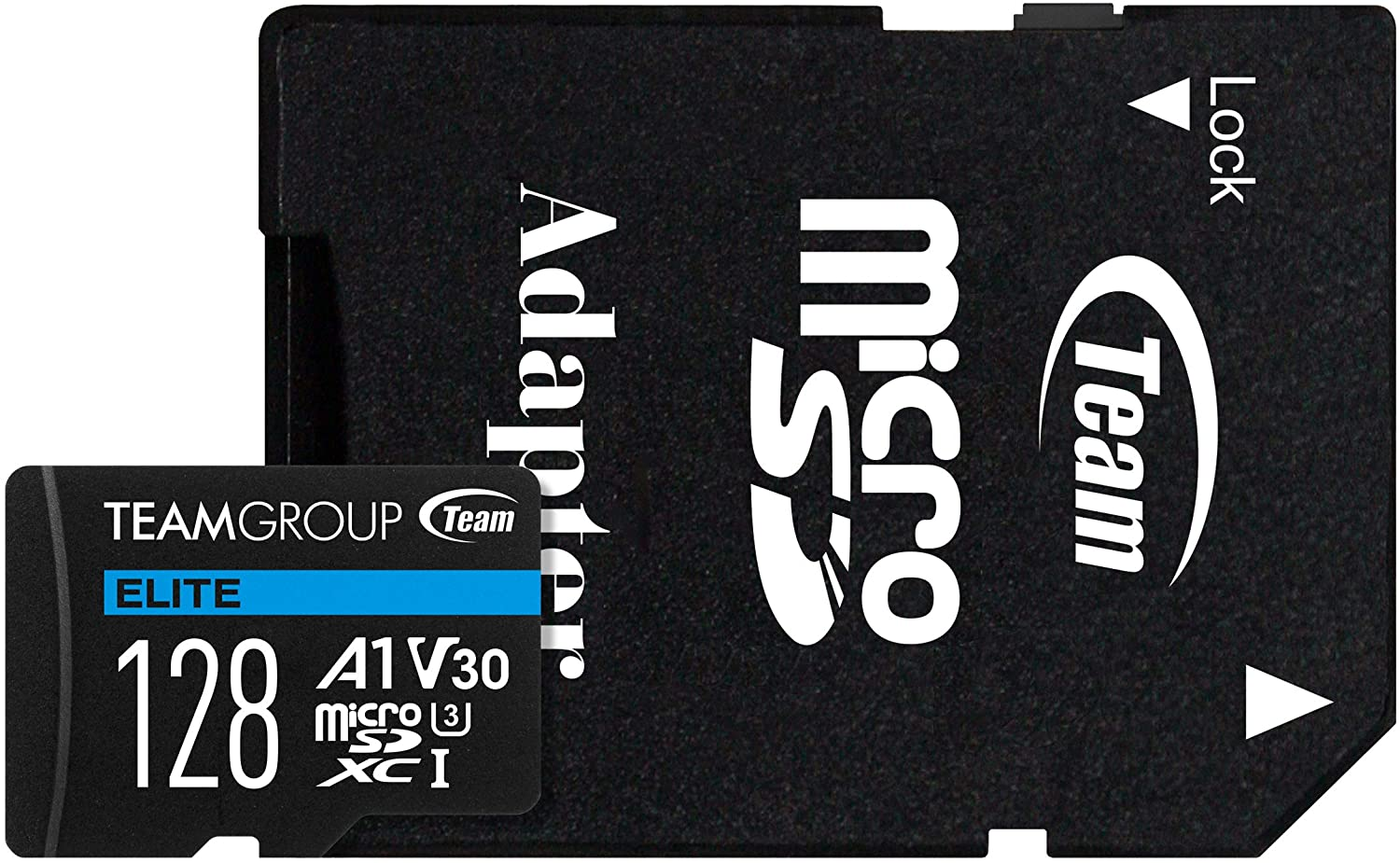 TEAMGROUP Elite A1 128GB microSDXC UHS-I U3 V30 A1 High Speed Flash Memory Card with Adapter for Phone, Android Mobile Device, 4K Shooting TEAUSDX128GIV30A103 (Read Speed up to 90MB/s)