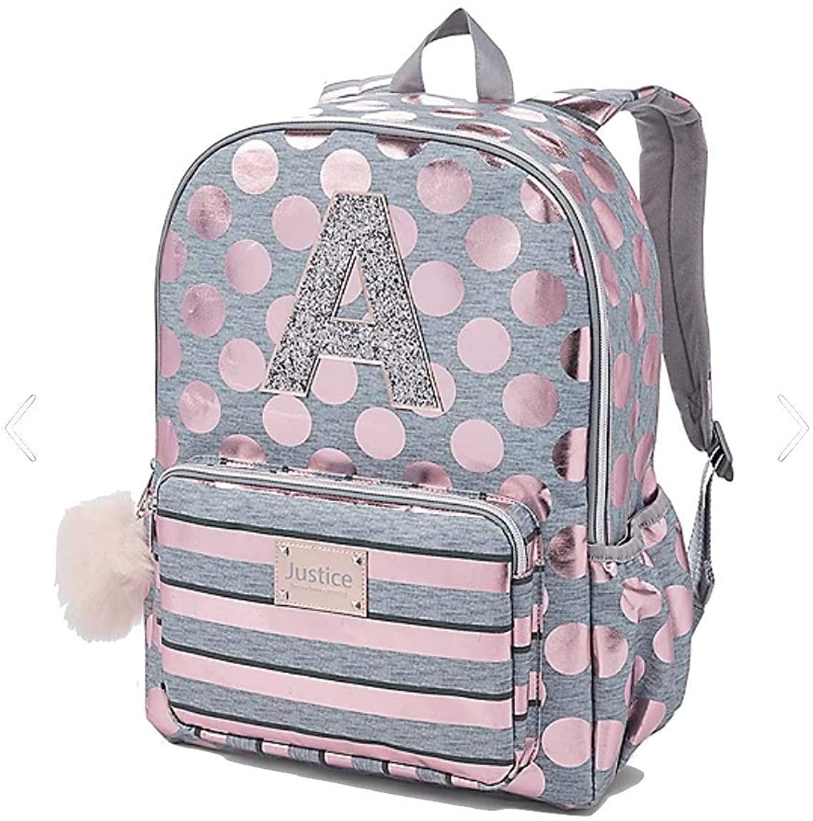 Justice Girls Rose Gold Foil Initial Backpack