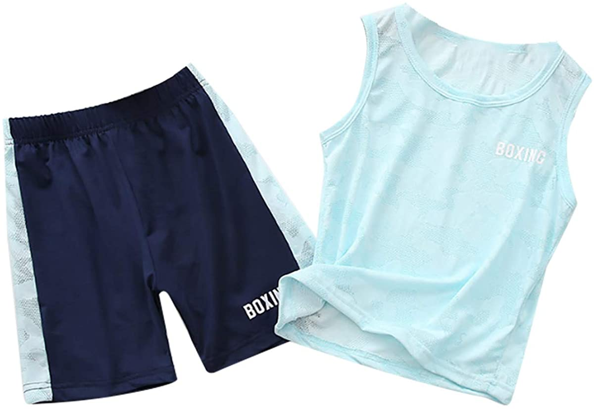 iiniim Kids Boys Activewear Outfit Sleeveless Tank Tops with Boy Cut Shorts Tracksuit Set Exercise Outdoor Activities