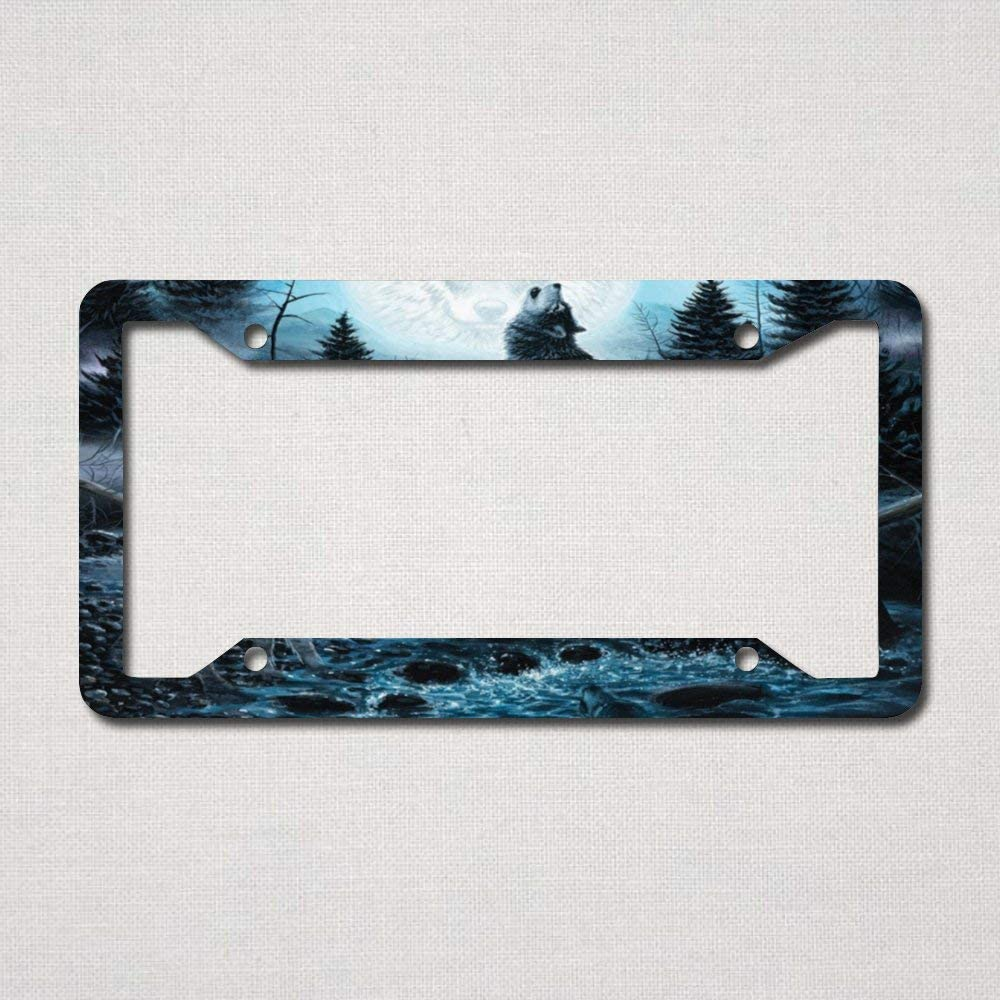 License Plate Frame, Wolf Paradise License Plate Cover Car Tag Frame Car Accessories with 4 Holes Made in USA