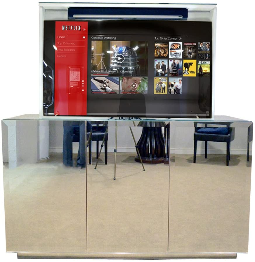 Pop Up TV Lift - Handcrafted Beveled Mirror TV Lift Cabinet - ATL System (55