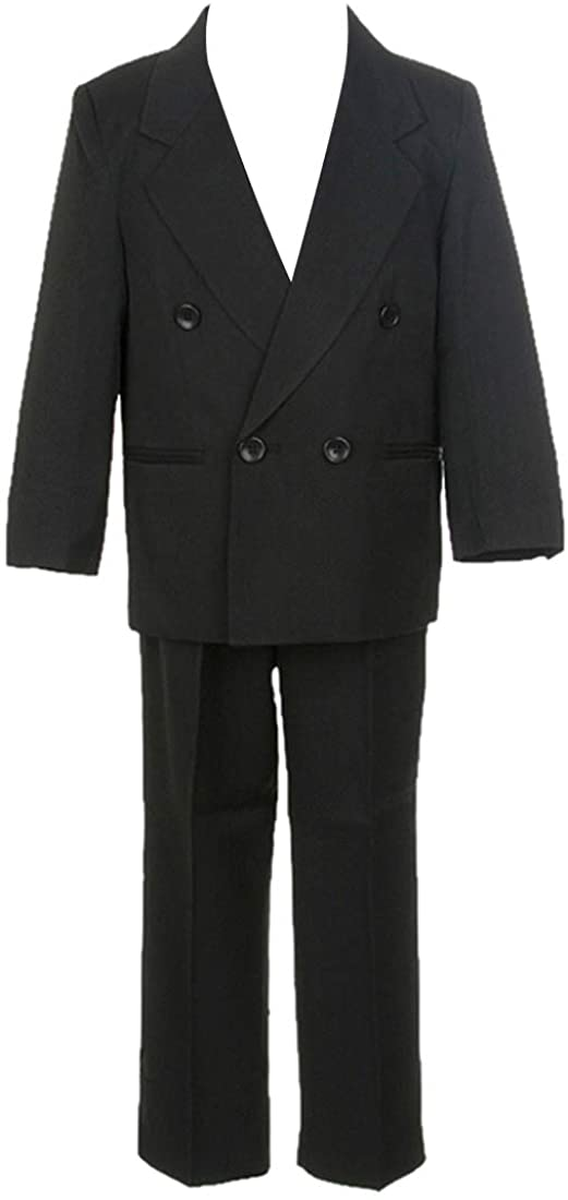 HBDesign Boys' 3 Piece Double Breasted Formal Suit Vest Black