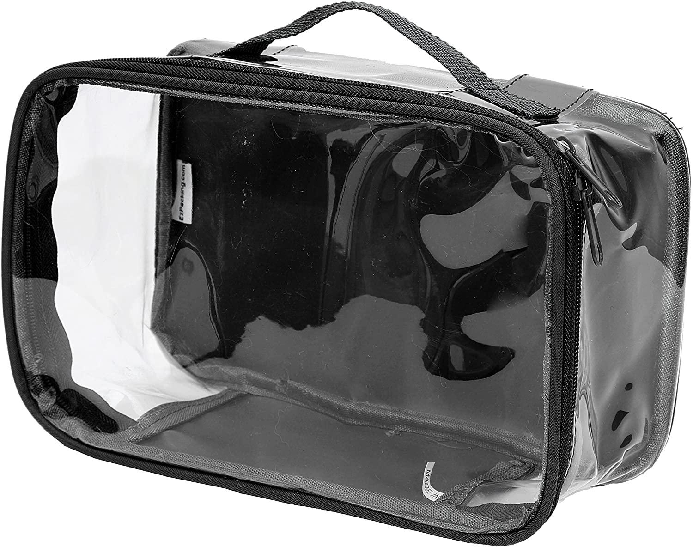 Clear Toiletry Makeup Bag, Cosmetic Organizer, Travel Case, PVC Plastic w/Handle (Black)