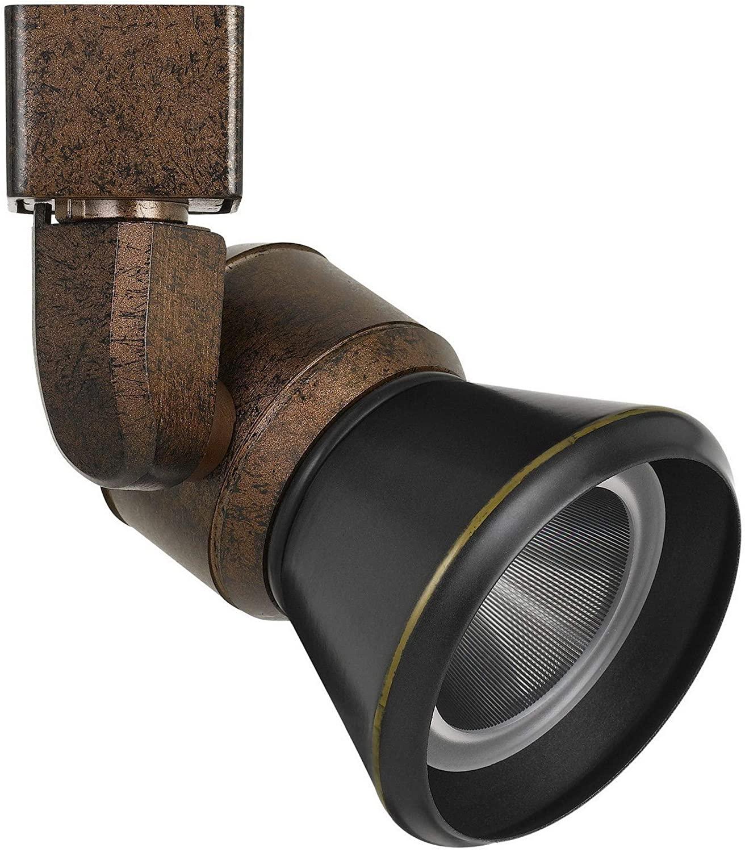 Benjara 10W Integrated Cone Head LED Metal Track Fixture, Black and Bronze