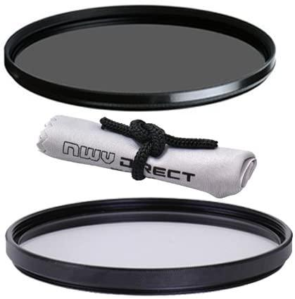 Vivitar High Grade 58mm UV (Skylight 1A) Filter, Vivitar High Grade 58mm Circular Polarizing Filter, Nwv Direct Microfiber Cleaning Cloth.