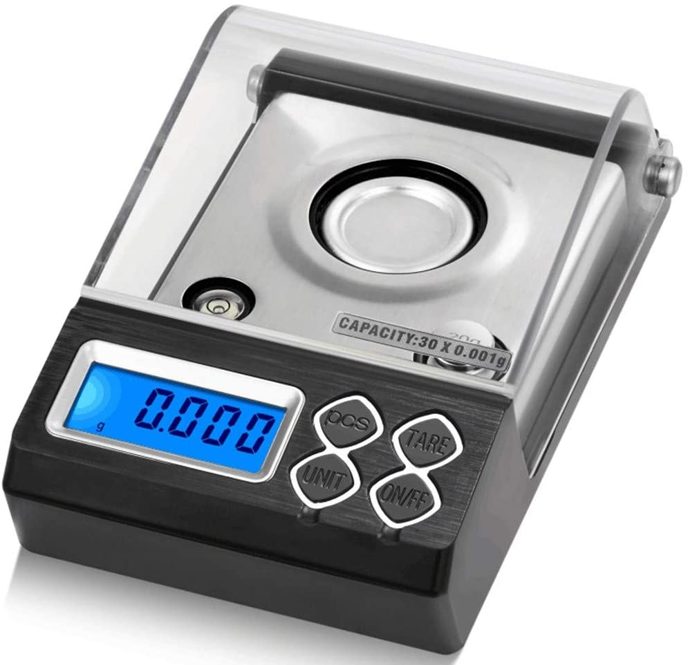 Jewelry Weighing Powder Scales High Precision 0.001g Electronic Pockets Scales with Lid Digital LCD Display Stainless Steel