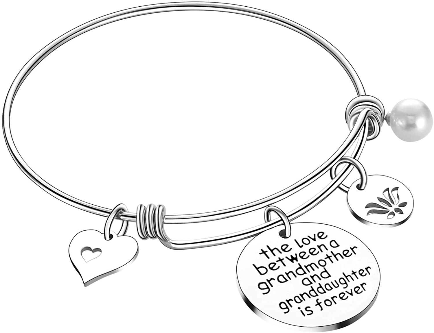 Grandma Gifts The Love Between A Grandmother and Grandson Granddaughter is Forever Bracelet