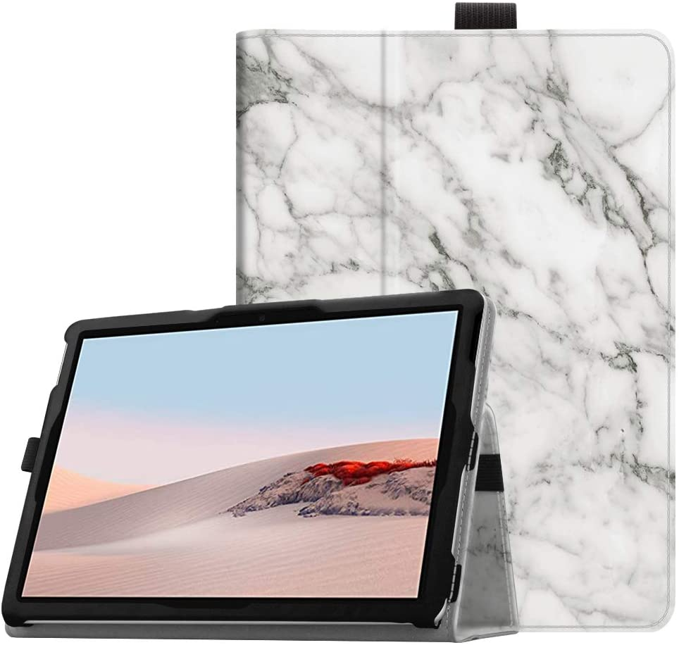 Fintie Case for Microsoft Surface Go 2 (2020) / Surface Go (2018) 10 Inch Tablet - Premium Vegan Leather Folio Stand Cover with Stylus Holder, Compatible with Type Cover Keyboard (Z-Marble)