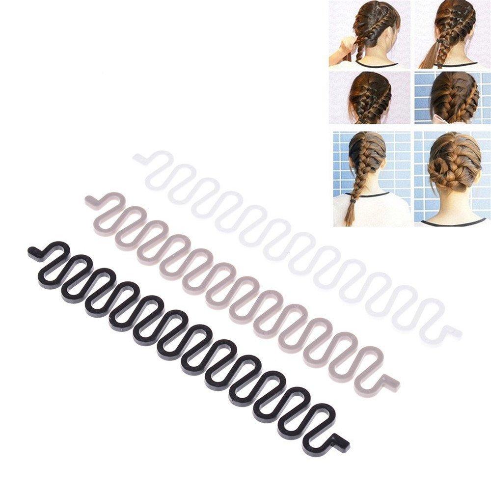 3PCS Women Lady Hair Braiding Tool Braider Roller Hook With Magic Hair Twist Styling Bun Maker DIY Hair Style Accessories