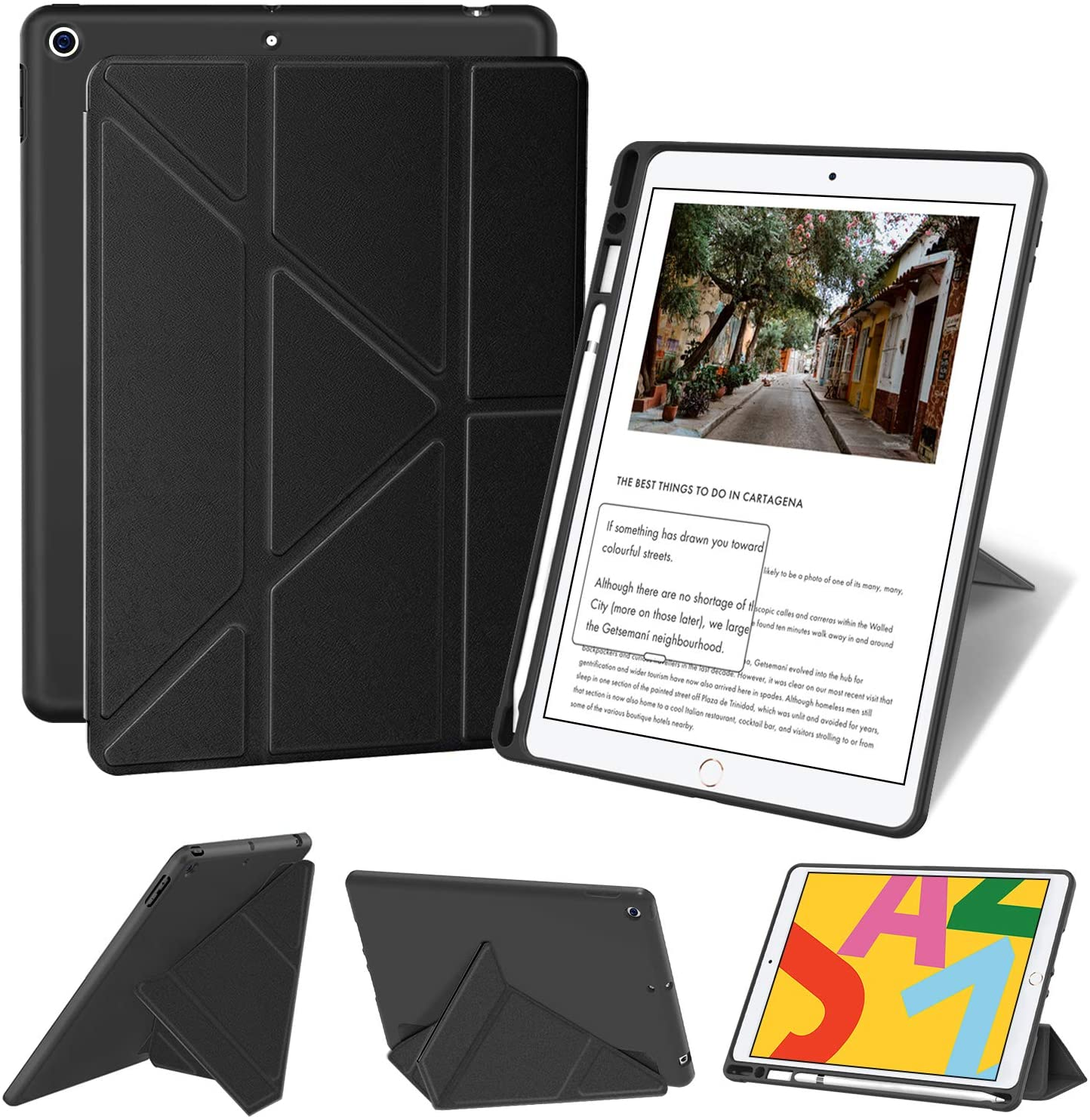 Supveco iPad 10.2 Case 2019 with Pencil Holder, Auto Wake/Sleep, Multiple Viewing Angles for iPad 7th Generation Case (Black)