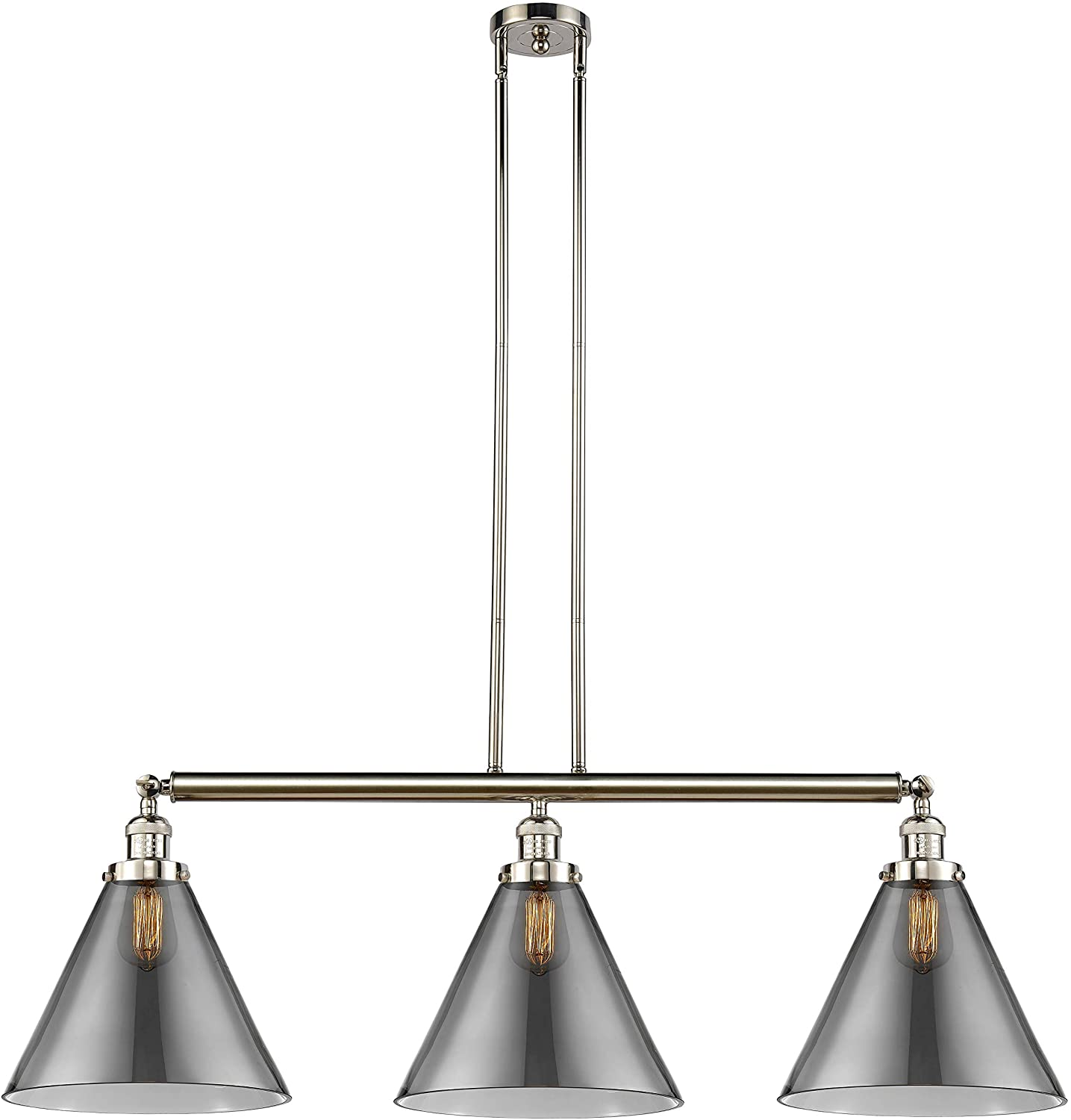 Innovations 213-PN-S-G43-L X-Large Cone 3 Island Light Part of The Franklin Restoration Collection, Polished Nickel