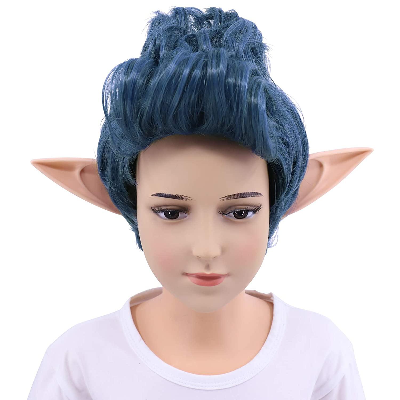 Hulaidywig Mens/Boys Blue Mixed Curly Cosplay Costume Wig + 1 Pair Ear (Kids)