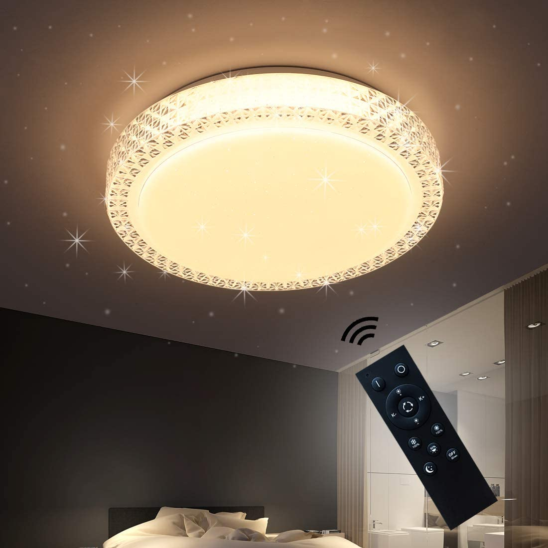 Dimmable LED Ceiling Light, LED Flush Mount Fixture with Remote Control, 15.7in Round LED Ceiling Lamp Without Flicker, for Living Room, Bedroom, 33W LED Ceiling Lamp,3000K-6000K