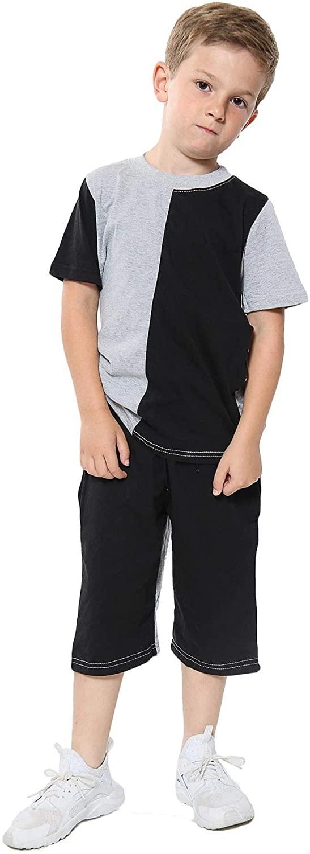 Kids Boys Girls T Shirts 100% Cotton Grey Contrast Panelled Summer Shorts Sets