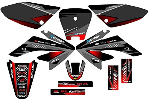 Senge Graphics Kit Compatible with Honda 2004-2013 CRF 70 Surge Black Graphics kit