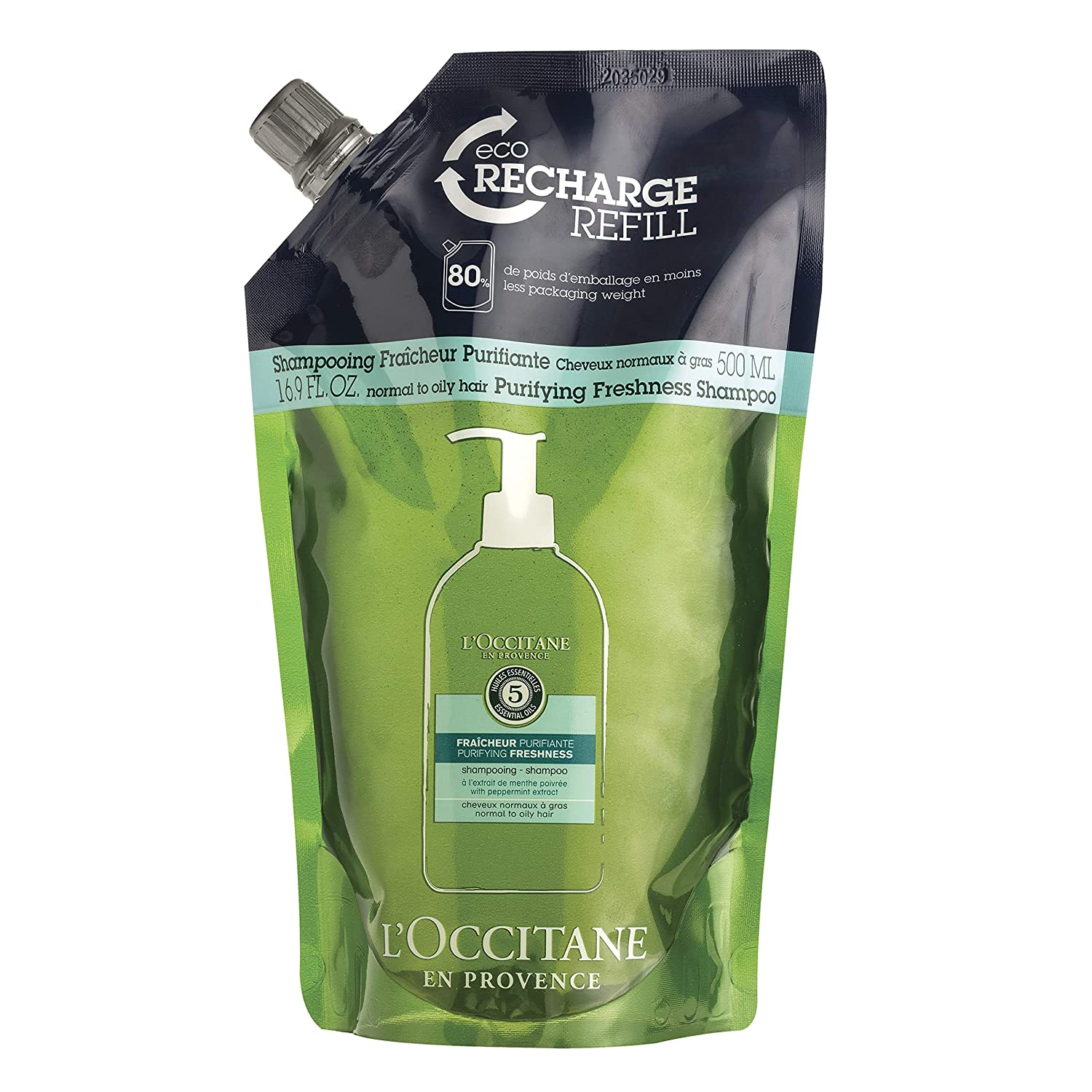 L'Occitane Aromachologie Purifying Freshness Shampoo Refill Enriched with 5 Essential Oils for Normal to Oily Hair, 16.9 Fl Oz